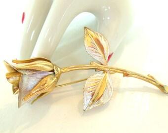 Vintage Brooch Rose Flower Gold Silver 60's (item 208)