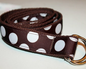 Brown Ribbon Belt Girls Polka Dots Brown POlka Dot Belt Girls Brown Belt Brown Ribbon Belt Girls D Ring Belt Brown Velcro Belt
