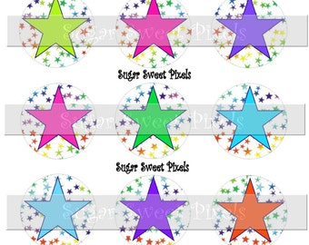 INSTANT DOWNLOAD Bright Stars  blank 1inch Circle Bottlecap Images 4x6 sheet