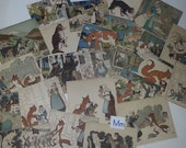 01 M Vintage illustrations 24 childrens reader color pictures clippings 1940s school book scrap paper supplies clippings lot
