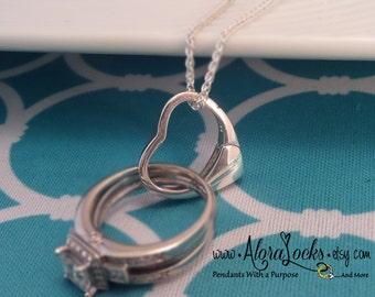 AloraLocks THE ORIGINAL Floating Heart Small Wedding Ring & Charm Holder / Holding Pendant-Sterling Silver