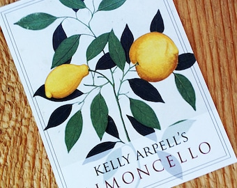 Traditional Limoncello Lemoncello Labels or Tags  with Antique Botanical, set of 18