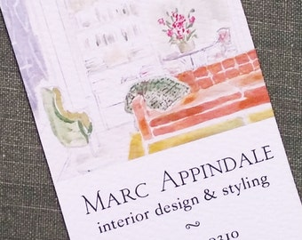French Interiors Illustrated Business Card, Set of 50