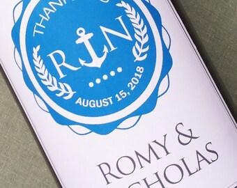 Monogram Anchor Wine Label for Nautical Wedding or Nautical Birthday, Set of 18 Personalized