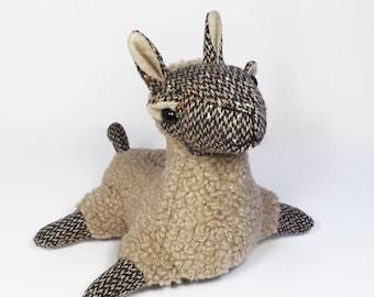 Tan & Brown Wool Plush Toy Llama