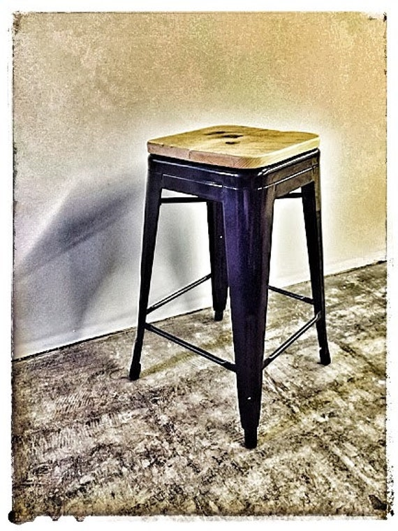 Custom Reclaimed Wood Seat for Tolix Style Stools