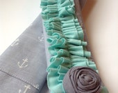 DSLR Ruffle Camera Strap Cover, Gray Nautical Anchors with Mint Double Ruffle and Rosette Pin