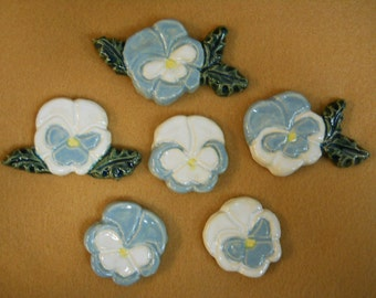 Handmade Ceramic Tiles PANSIES Wedgewood Blue and White  set of 6