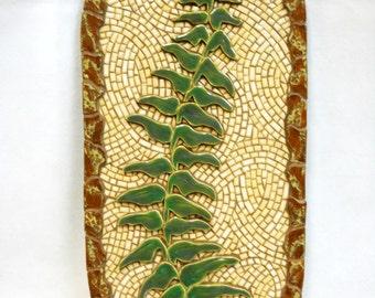 "Mosaic Wall Art Handmade Ceramic Tile  ""Fern in Relief""  34"" x 18"""