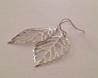 Leaf Earrings in Silver - Silver Leaf Earrings with Sterling Ear Wires