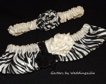 Zebra Print Wedding Garter Set, Black and Creamy White Bridal Garters