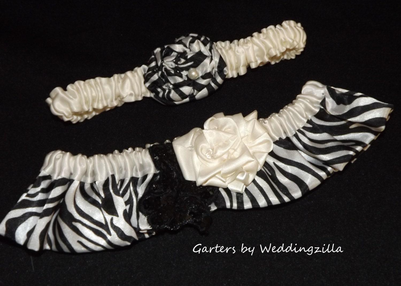 Zebra print wedding garter set black and creamy white bridal for Zebra print wedding dress