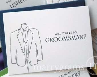 Will You Be My Groomsman, Best Man, Wedding party... Bridal Party Tuxedo Suit Cards - Groomsmen Ask Cards (Set of 5)
