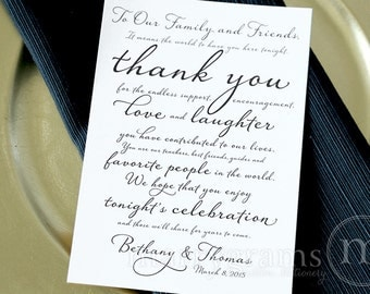 Wedding Reception Thank You Card to Your Guests - To Our Friends and Family... Reception, Seating Thank You Note Card (Set of 150) SS03