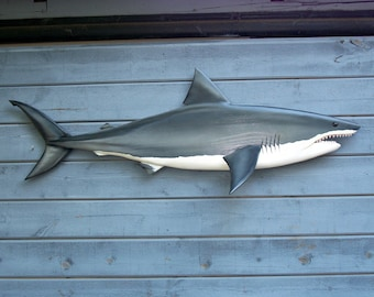 "GREAT WHITE SHARK 59"" carving, shark decor, shark wall art, shark sculpture, carved shark, coastal decor, shark wall hanging, carved shark,"