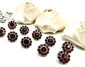 Rhinestone Buttons-10 Mini Petite Plastic Acrylic Ruby Red Rhinestone Crystal Buttons 10mm 2997-41R.