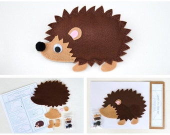Learn to Sew Kit for Kids - Brown Hedgehog