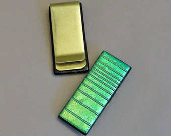 Dichroic Fused Glass Money Clip Mens Accessories Dichroic Jewelry Glass Art Decorative Art Functional Art Green Womens Gifts Under 25