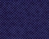 Navy Blue and White Small Polka Dot Patterned Fabric - Essential Dots by Moda 1 Yard