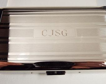 Custom Engraved Cigarette Case Personalized Double Sided Linear Design 120s Cigarette Holder  -Hand Engraved