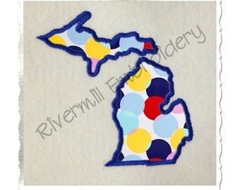 State of Michigan Applique Machine Embroidery Design - 4 Sizes