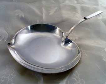 Vintage Silverplate Heart Shaped Serving Dish Handle Tray.  Royal Hickman Three Crowns Stamped Hallmark.