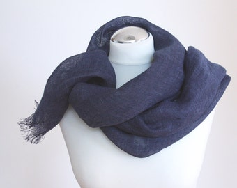 Linen scarf pure airy linen blue