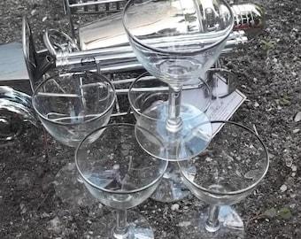 Vintage Silver Rim Wine Goblets, Mad Men Style, Eames Era Glassware, Barware