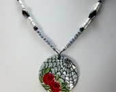 Spider Web, Red Rose Necklace, Hand-Painted, Gothic Look, Black Slip Shell Focal, Hemotite