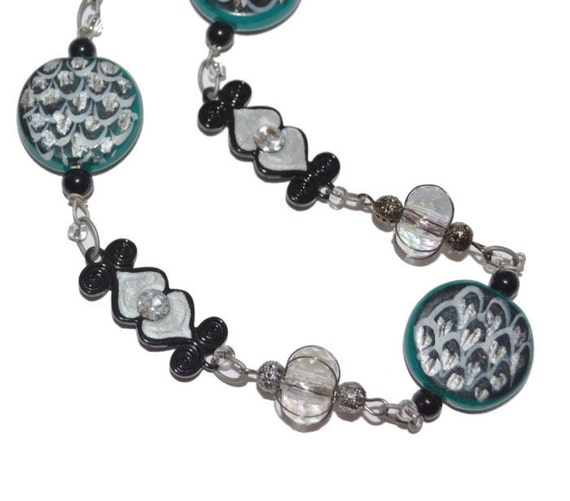 Clearance SALE Teal, Black and Silver Choker-Length Necklace OOAK Original Design