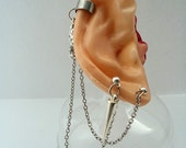 Earring cuff Cartilage chain double love Pierced Stud Bajoran Style-Chain Ear Cuff- Made in Canada-cartilage jewelry
