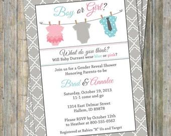 Gender Reveal Onesie baby shower invitation, Onesie shower, banner shower invitation, Digital