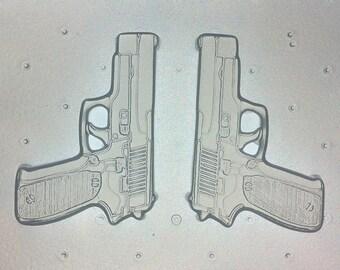 "Flexible Resin Mold Medium Pistol Guns Set 2.5"" in Length"