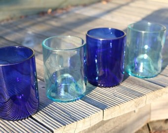 Set of 4 recycled wine bottle glasses.
