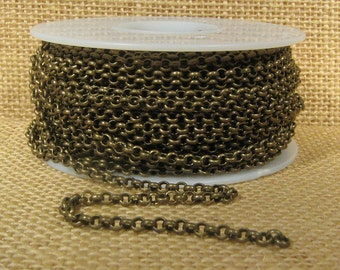 3.0mm Rolo Chain - Antique Brass - CH49 - Choose Your Length