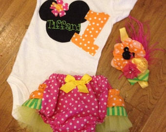 Minnie Mouse Luau birthday outfit in pink green yellow orange
