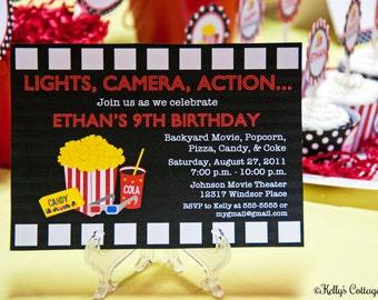 Movie Night Invitation, Red... Custom, Printable, Digital