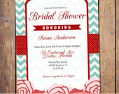 Bridal shower invitation with antique flowers and chevron, turquoise red and pink, vintage floral theme (item112a)