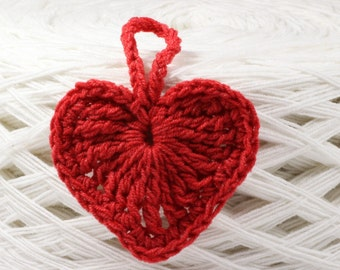 Valentines Day pattern Crochet Heart Ornament