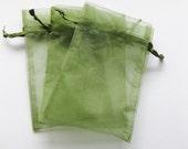 Set of 10 Moss Green Organza Bags (3x4)