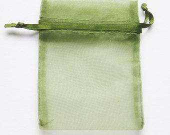 Set of 10 Moss Green Organza Bags (5x8)