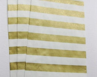 "Set of 10 METALLIC GOLD and White Horizontal Stripe Design Middy Bitty Bags (5"" x 7.5"")"