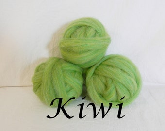 Wool roving in Kiwi, 1 ounce wool roving for needle felting, wet felting, spinning, 1 oz wool roving sampler, colored wool sampler