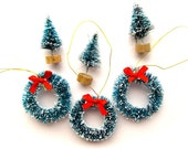 Mini Flocked Bottle Brush Christmas Wreaths-Lot of Three 1.5 Inch-W/ Red Ribbons-Retro Holiday Ornaments-Sisal Pines-Putz Village-Snowglobes