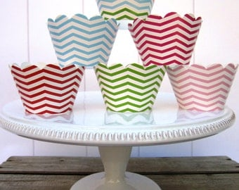 Cupcake Wraps in Custom Requested Patterns Set of 24 Chevrons Cupcake Wraps,  Polka Dot Cupcake Wraps,  Rainbow Party Favors