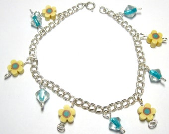 """Dainty Sterling Silver Double Link Charm Bracelet for Little Girl to Adult Handmade 6 3/4"""" Perfect for Spring OOAK"""