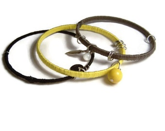 Black Grey Yellow Bangle Set