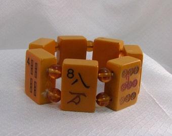 Vintage Bakelite Mahjong Tile Bracelet
