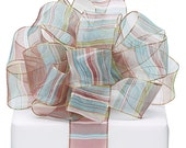 """5YDS Green Teal & Brown Sheer Stripes 1-1/2"""" Wired Wire Edge Ribbon"""