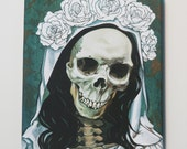 Santa Muerte in white, print on gallery wrapped canvas.